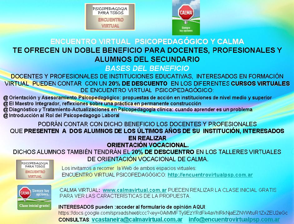 Doble Beneficio CALMA-ENCUENTRO VIRTUAL PSP